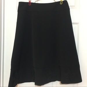 2/$15 Black A-line skirt with flowers at hem